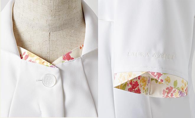 ローラ アシュレイ ナースジャケット半袖[住商モンブラン製品] LW801の襟元と袖元の花柄